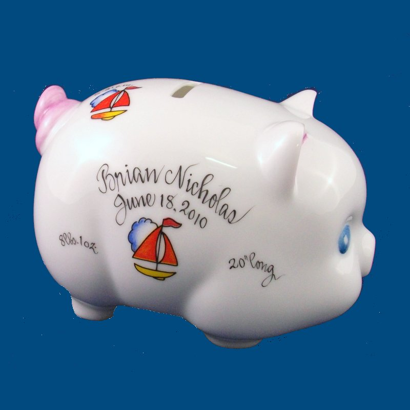 Personalized Hand Painted  Piggy Bank with Sailboat Design*