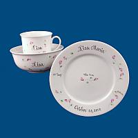 Personalized Hand Painted Porcelain Baby Dish Set with Floral Designs*
