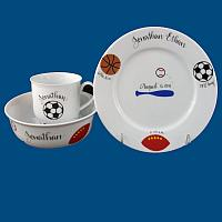 Personalized Hand Painted Porcelain Baby Dish Set with Sports Design*