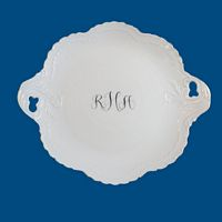 Personalized Hand Painted Porcelain Cake Plate with Monogram