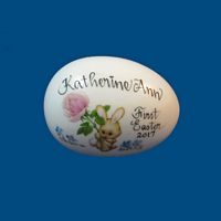 Personalized Hand Painted  Easter Egg with Bunny with Rose-gift baskets, porcelain eggs, porcelain keepsake, porcelain painted, easter for kids, holiday gifts, personalized gifts, baby gifts, kids gifts, unique gifts, Easter, Easter Eggs, Solid Easter Eggs, Eggs with Names, Just for Easter, New Baby, New Baby Easter, First Easter, Personalized Easter Eggs, Porcelain Easter Eggs, Porcelain Easter,
