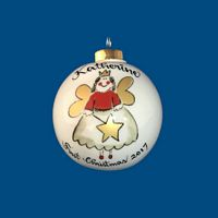 Personalized Hand Painted Porcelain Christmas Ball w/ Whimsy Fairy