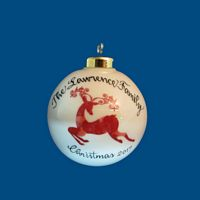 *NEW DESIGN Personalized Hand Painted Porcelain Christmas Ball with Red Reindeer Design*-gift idea, personalized gifts, christmas, christmas gifts, christmas gift ideas, xmas ornaments, christmas ornaments, gifts for christmas, present ideas, ornament, christmas tree ornaments, personalized christmas ornaments, homemade christmas ornaments, first christmas ornaments, christmas ball ornament, engraved christmas ornament, christmas balls, christmas ball decorations