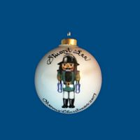 Personalized Hand Painted Porcelain Christmas Ball with Robinhood Nutcracker  Design