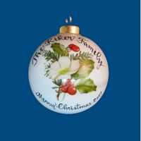 Personalized Hand Painted Porcelain Christmas Ball with White Rose Design