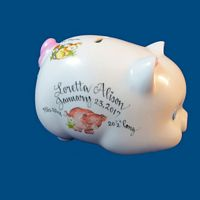 Personalized Hand Painted  Piggy Bank with Farm Animals*-gift idea, personalized gifts, unique baby gifts, piggy bank, porcelain piggy bank, porcelain, hand painted piggy bank, piggy bank, coin bank, kids piggy banks, personalized piggy banks, baby piggy bank, ceramic piggy bank, personalized baby, baby keepsake, new baby gift