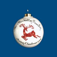 Personalized Hand Painted Porcelain Christmas Ball with Red Reindeer Design