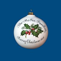 OVERSIZED Round Personalized Hand Painted Porcelain Christmas Ball In Holly Design