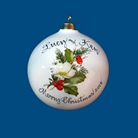 OVERSIZED Round Personalized Hand Painted Porcelain Christmas Ball with White Rose
