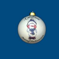 *New Design*Personalized Hand Painted Christmas Ball with Earmuff Snowman*