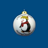 *New Design-Personalized Hand painted Christmas Ball with Whimsy Penguin*