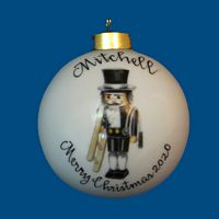 *New Design* Personalized Hand Painted Porcelain Christmas Ball with Chimney Sweep Nutcracker