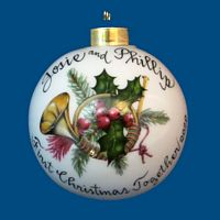 Hand Painted Personalized  Christmas Ball w/ Horn