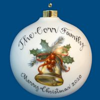 OVERSIZED Round Personalized Hand Painted Porcelain Christmas Ball In ALL Designs