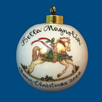 Personalized Hand Painted Porcelain Christmas Ball w/ Horse