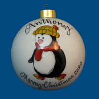Personalized Hand painted Christmas Ball with Whimsy Penguin*