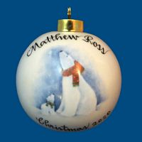 Hand Painted Personalized  Christmas Ball w/Polar Bear