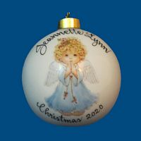 *New Design* Personalized Hand Painted Porcelain Christmas Ball with Praying Angel