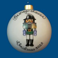 Personalized Hand Painted Porcelain Christmas Ball with Robinhood Nutcracker