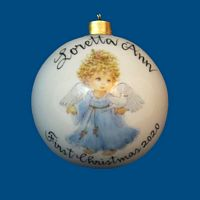 *New Design* Personalized Hand Painted Porcelain Christmas Ball with Blue Angel