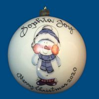 Personalized Hand Painted Christmas Ball with Earmuff Snowman*
