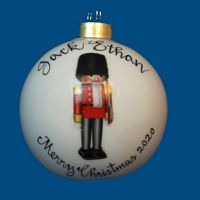 Personalized Hand Painted Christmas Ball w/ Nutcracker