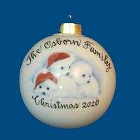 Personalized Hand Painted Porcelain Christmas Ball w/ Baby Seals