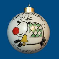 Personalized Hand Painted Porcelain Christmas Ball with Whimsy Reindeer