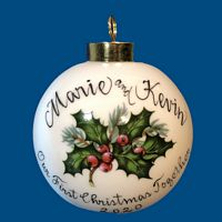 Personalized Hand Painted Porcelain Christmas Ball w/ Holly Design