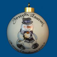 Personalized Hand Painted Christmas Ball with Snowman Eating Ice Cream