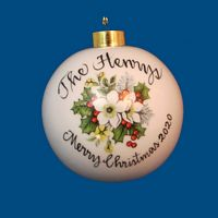 New Design* Personalized Hand Painted Porcelain Christmas Ball with White Rose and Holly