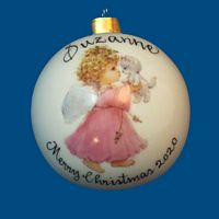 *New Design* Personalized Hand Painted Porcelain Christmas Ball with Pink Angel