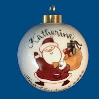 Personalized Hand Painted Porcelain Christmas Ball w/ Whimsical  Santa