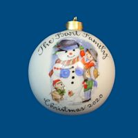 *New Design*Personalized Hand Painted Porcelain Christmas Ball w/ Snowman and Kids