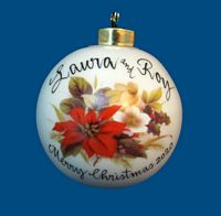 *New Design* Personalized Hand Painted Porcelain Christmas Ball with Poinsettia