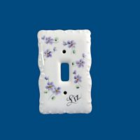 Personalized Hand Painted Porcelain Switch Plate Cover*-Switch plate cover, light switch plate,child's bedroom decor, new baby gift, birthday gift, child gift, porcelain gift, baby gift, christening gift, new baby