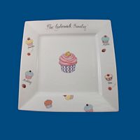 Personalized Hand Painted Square Porcelain Cupcake Plate