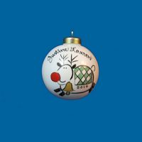 Personalized Hand Painted Porcelain Christmas Ball with Reindeer