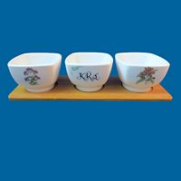 Personalized Set of Three White Porcelain Dip Bowls-bowls, dip bowls, porcelain bowls, ceramic bowls, house, house gift, for the home, housewarming, holiday gift, personalized gift, Christmas gift, new home gift, herbs, cheese, hummus bowls, cheese bowls, set of bowls