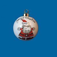 Personalized Hand Painted Porcelain Christmas Ball with Santa Design