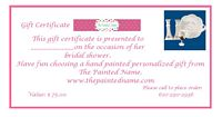 Gift Certificate-gift certificate, bridal shower, bridal shower gifts, bridal shower gift certificate, personalized gift, hand painted gift, unique gift