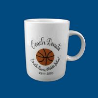 Personalized Hand Painted Porcelain Sports Mug-coach gift, teacher gift, coach mug, coach coffe mug, coach cup, sports mug, sports cup, sports coffee cup, personalized coach gift, team gifts, hand painted coach gift, mug