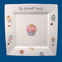 Personalized Hand Painted Porcelain Square Cake Plate
