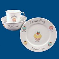 Personalized Hand Painted Porcelain Baby  Dish Set with Cupcake Design*
