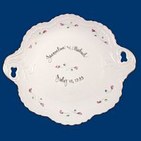 Personalized Hand Painted Porcelain Scrolled Cake Plate