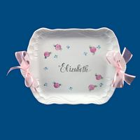Personalized Hand Painted Porcelain Dresser Tray-gift idea, personalized gifts, porcelain gift, gifts for girls, bridal shower gifts, birthday gifts, christmas gifts, personalized jewelry, unique gifts, gifts for her, dresser tray, vanity tray, baby gifts, personalized baby, white porcelain, bat mitzvah gifts, tray, trays