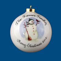 OVERSIZED Round Personalized Hand Painted Porcelain Christmas Ball In ALL Design