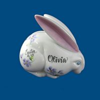 Personalized Hand Painted Porcelain Bunny Bank-bunny, bunny bank, easter, easter gifts, porcelain easter gifts, children's easter gift, children easter gift