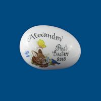 Personalized Hand Painted Porcelain Easter Egg - Bunny with Bluebird-gift idea, personalized gifts, holiday gifts, easter egg, easter eggs, decorated easter egg, decorated easter eggs, easter basket, easter gift baskets, porcelain eggs, porcelain keepsake, porcelain painted, easter for kids, holiday gifts, personalized gifts, baby gifts, kids gifts, unique gifts