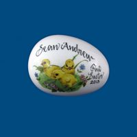 Personalized Hand PaintedPorcelain Easter Egg- Three  Baby Chicks*